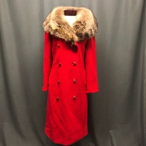 Vintage long red wool trench coat fur collar